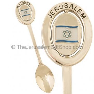 Teaspoon Souvenir - Spinning Israeli Flag