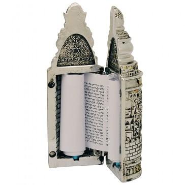 Sefer Torah Scroll - Jerusalem design - 3D Silver and Gold Plated Case