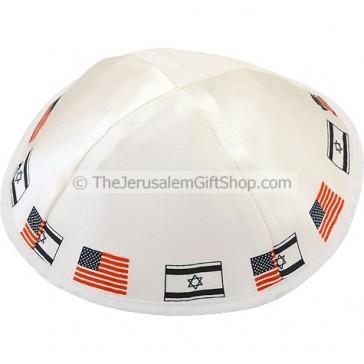 Israeli USA Flags White Kippa