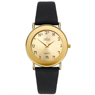 Women's 'Adi Watch' with Aleph-Bet Hebrew Numerals and Mechanical Date - Gold Stainless Steel on Black Leather Strap - Made in Israel