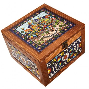 Large Wood Box with Jerusalem Ceramic Tile - Made in the Holy Land