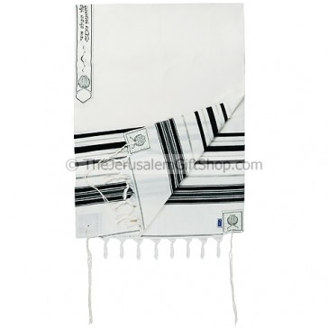 Classic Tallit / Prayer Shawl - Black and Silver - Wool