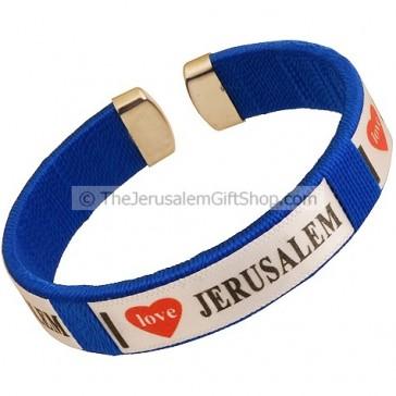 Clip-on 'I Love Jerusalem' Blue Bracelet