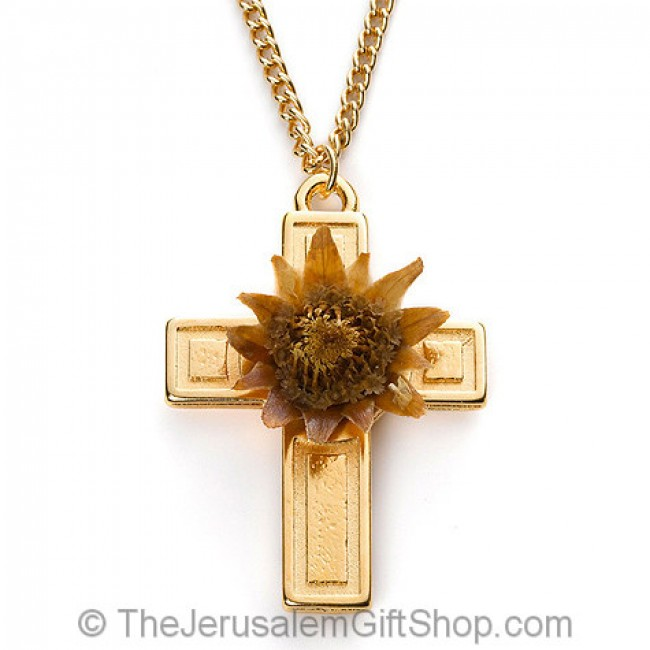 The Rose Of Bethlehem Gold Fill Cross Necklace