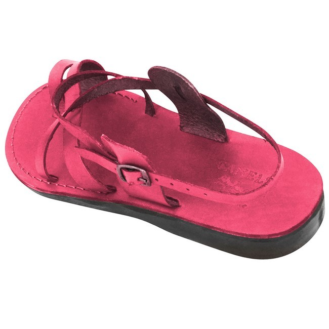a19f0c4addb0 ... Leather Jesus Sandals - Bethlehem Yeshua Style - Colored Pink ...