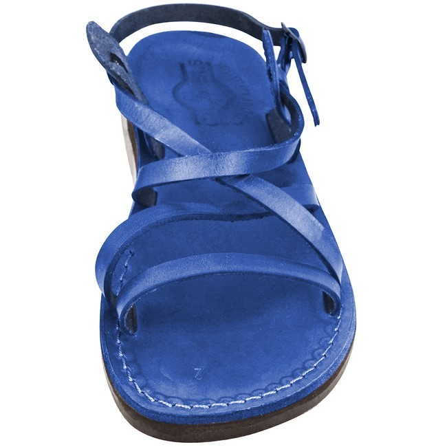 de96116a46c8 ... Camel Leather Jesus Sandals - Yeshua Style - Colored Blue ...
