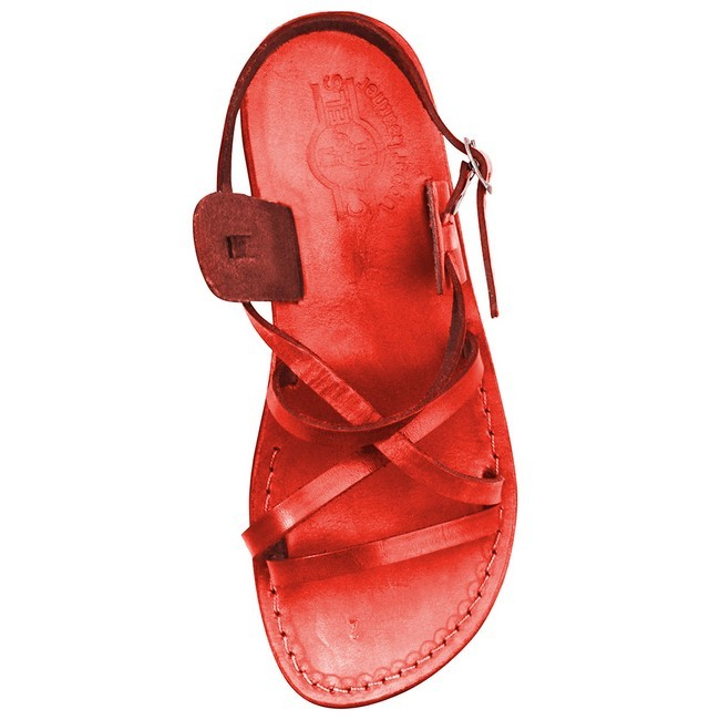 082cc6d7ea7e ... Camel Leather Jesus Sandals - Yeshua Style - Colored Red ...