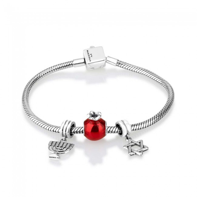 'GraceLet - BraceLet' Jewish Symbols: Menorah - Pomegranate and Star of  David