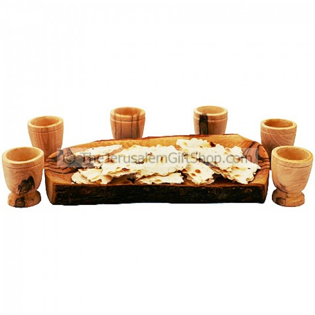 Communion Bread Serving Tray With Six Olive Wood Cups
