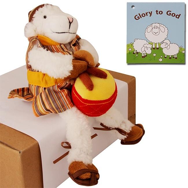 Biblical Dress Glory To God Drummer Sheep Stuffed Fun Toy