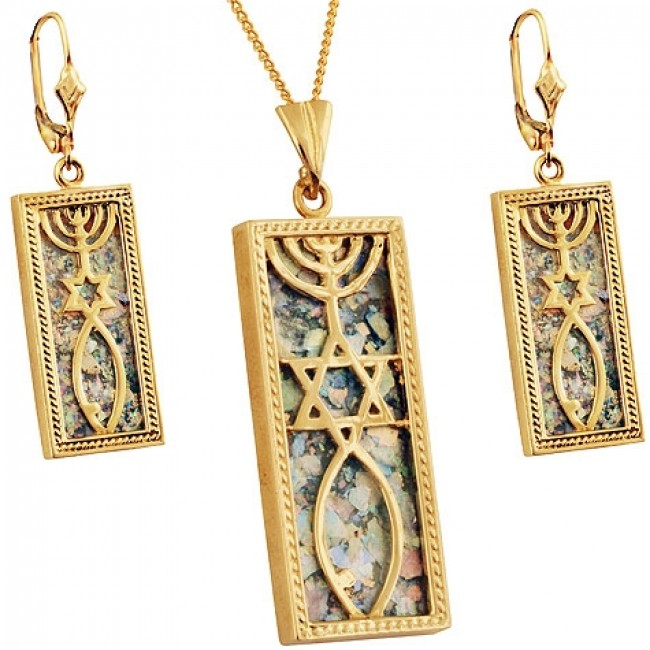 14 Carat Gold Roman Gl Grafted In Messianic Pendant Earrings