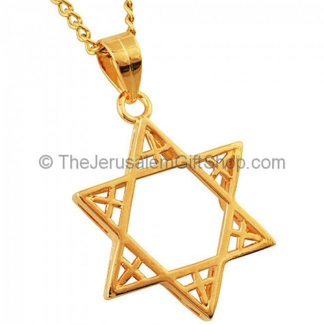 Gold fill star of david pendant with a cross on six points goldfill star of david pendant with multiple cross by marina aloadofball Gallery