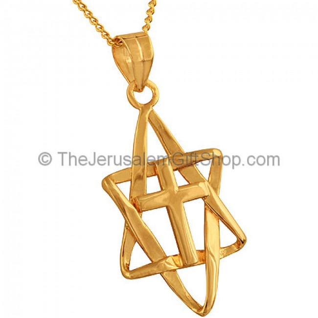 Cross mounted inside a gold fill interlaced star of david pendant cross inside interwoven star of david by marina zoom cross inside interwoven star of david aloadofball