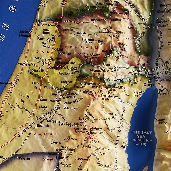 Raised Relief 3d Map Of 12 Tribes In Israel Biblical