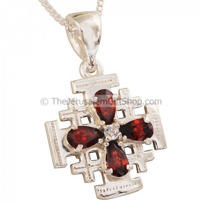 Jerusalem cross pendant with crystal red petal design jerusalem cross pendant with crystal red petal design aloadofball Images