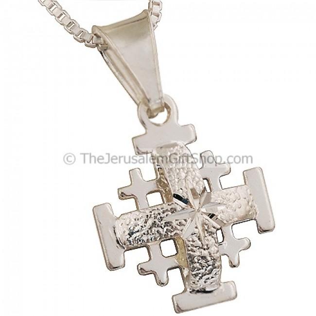 Jerusalem cross mini pendant with etched star design jerusalem cross mini pendant with etched star design aloadofball Images