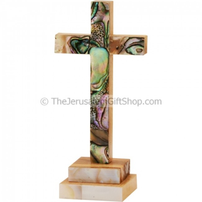 Mother Of Pearl Olive Wood Standing Cross