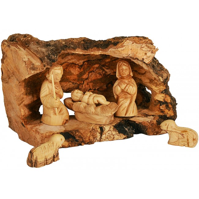 Olive Wood Branch Nativity From Bethlehem With Natural Olive Wood Bark 6 Piece Hand Carved Figures Set
