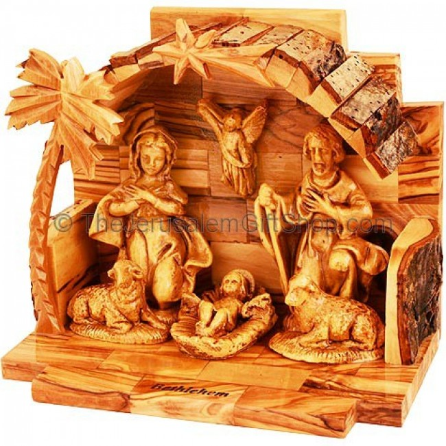 Arched Manger From Olive Wood Nativity Holy Land