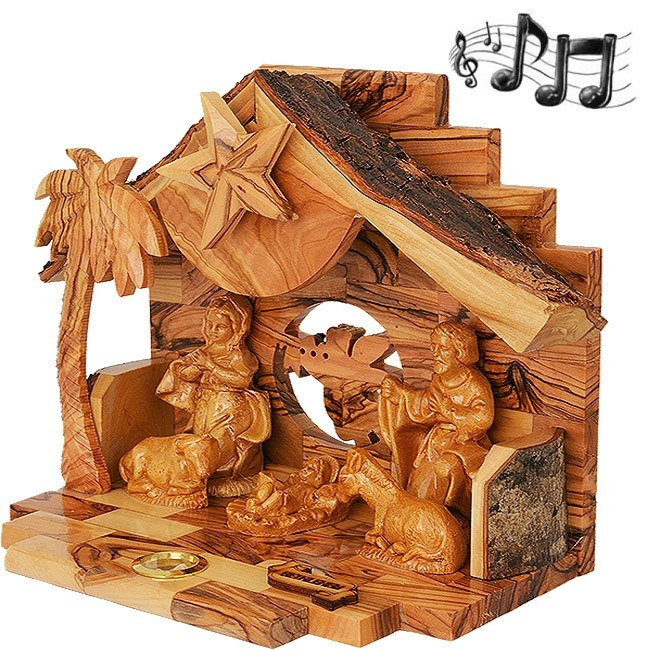 Musical Nativity With Olive Wood Manger