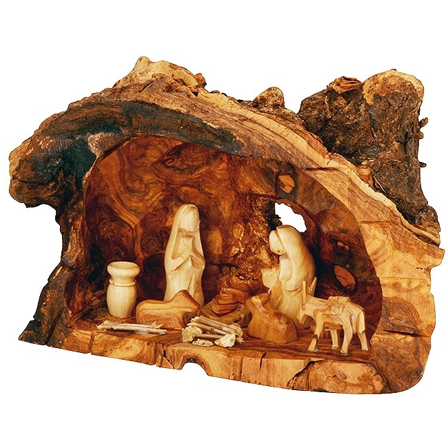 Olive Wood Tree Trunk Nativity Scene Fixed Pieces Set Hand Carved In Bethlehem Faceless Figurines 10 Inch