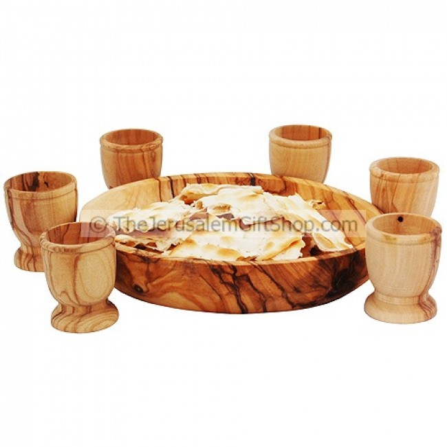 Lord's Supper Communion Bread Plate Six Olive Wood Cups ...