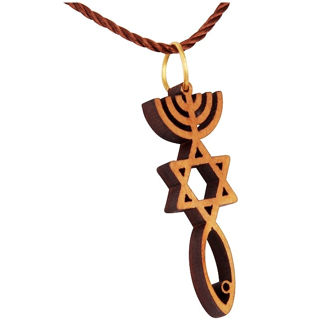 Olive Wood Grafted In Messianic Symbol Pendant Made In Israel