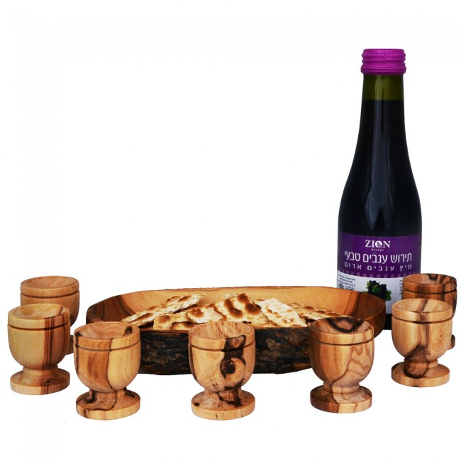 The Lord's Supper - Wine, Bread Tray and Six Olive Wood Cup Set