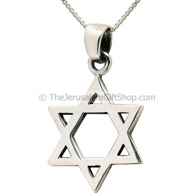 Star of david magen david pendant holy land christian gifts star of david silver pendant aloadofball Image collections