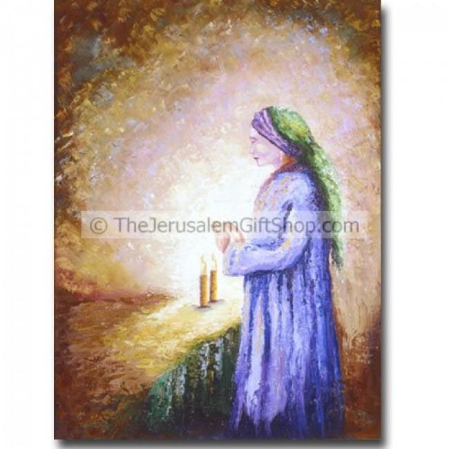 Woman Lighting Shabbat Candles