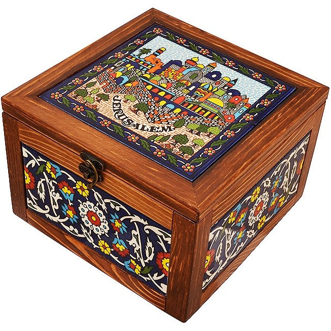 Large Wood Box With Jerusalem Ceramic Tile Made In The