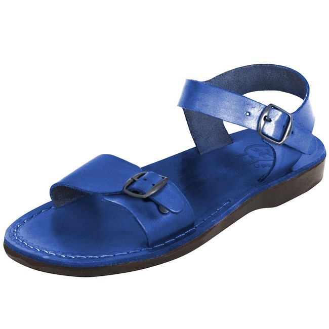b36c245d124c Camel Leather Jesus Sandals - Jerusalem Style - Colored Blue
