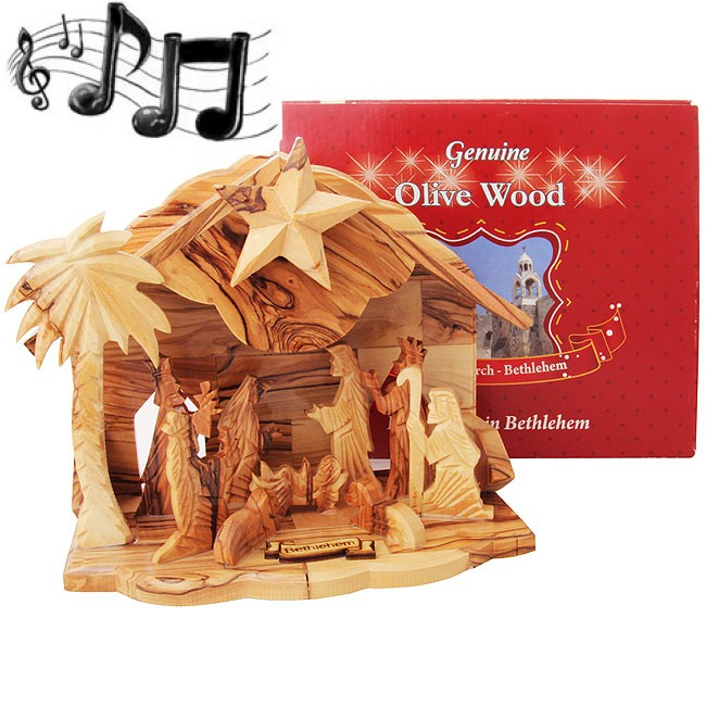 Boxed Musical Olive Wood Nativity From Bethlehem Silent Night Holy Land Christian