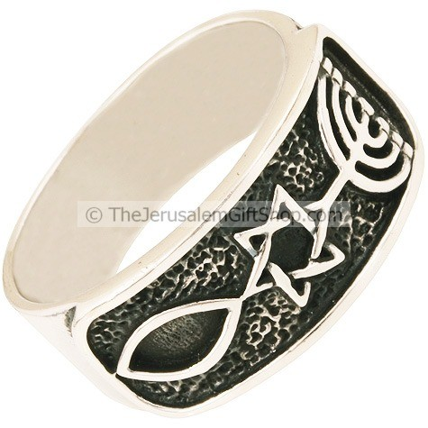 Grafted In Sterling Silver Messianic Ring Holy Land