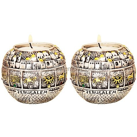 12 Tribes Candle Holders Jerusalem Walls