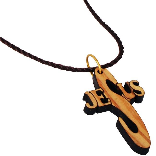Bethlehem olive wood jesus cross pendant with cord necklace holy jesus cross pendant with cord necklace zoom mozeypictures Gallery