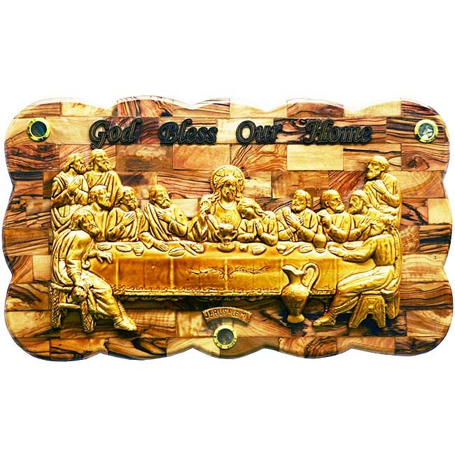 Large 19 Inch Wide The Last Supper Large Olive Wood Plaque