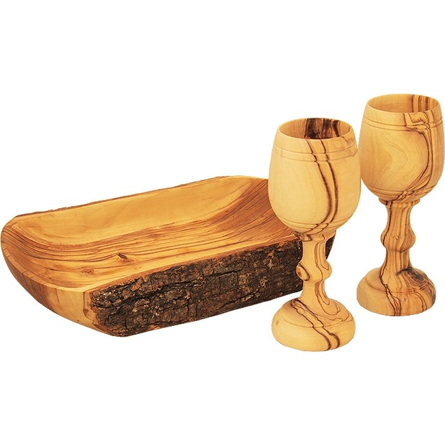 The Lord's Supper Cup - Bread Tray & Pair of Cups - Made in Bethlehem from  'Grade A' Olive Wood