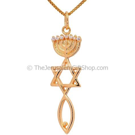 Grafted Messianic Pendant Seal Jerusalem Cz Menorah