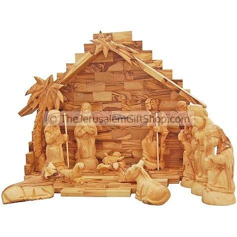 Nativity Set Large 13 Piece Holy Land Olive Wood
