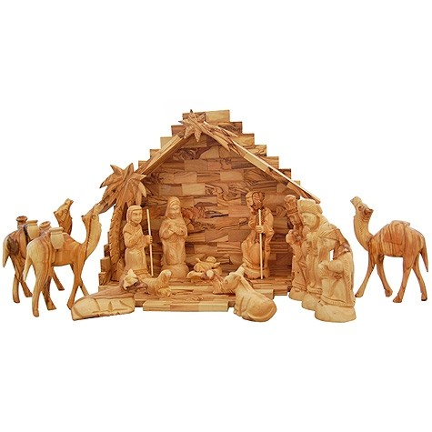 Nativity Set Deluxe Jesus Bethlehem Olive Wood