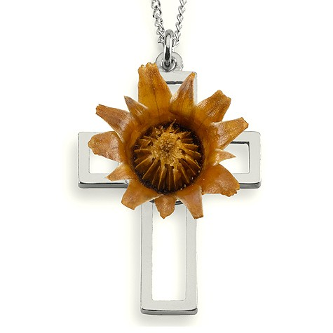 The Rose Of Bethlehem Sterling Silver Cross Necklace