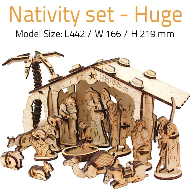 Nativity Scene Set Large Diy Wood 3d Puzzle Educational Self