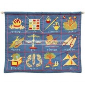 12 Tribes Embroidered Wall Hanging - Blue Hebrew