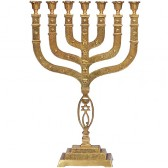 Large Twelve Tribes 'Grafted In' Brass Menorah 21 inch