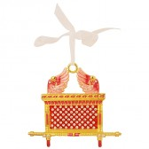 Ark of the Covenant Decorative Wall Hanging - Red Enamel with Crystals