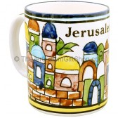 Large Armenian Ceramic 'Jerusalem' Mug