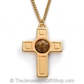 The Rose of Bethlehem Gold Cross Necklace