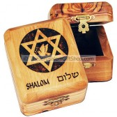Olive wood Star David Shalom Box