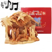 Boxed Musical Olive Wood Nativity from Bethlehem - Silent Night